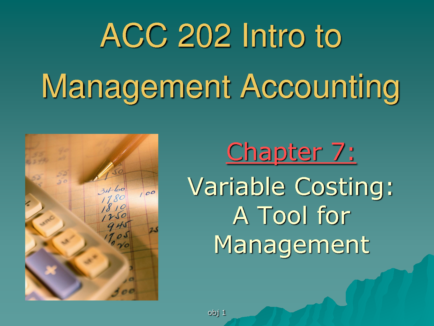 Lecture on Variable Costing