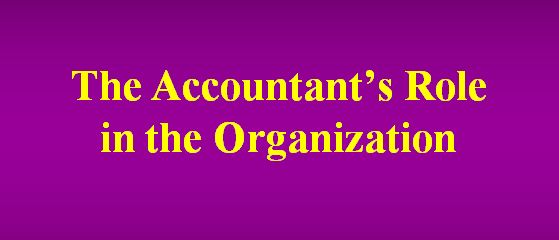 Lecture on The Accountants Role in the Organization