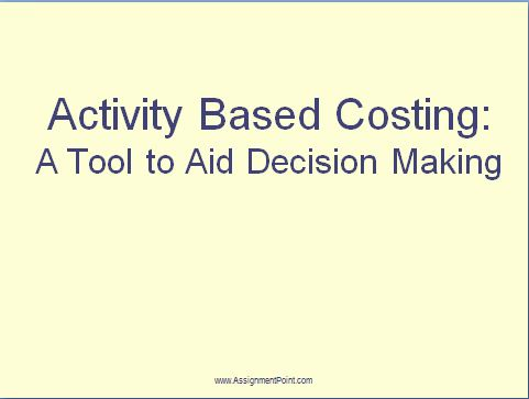 Lecture on Activity Based Costing