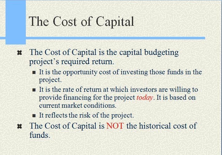Lecture on The Cost of Capital