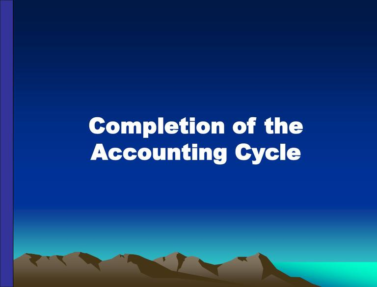 Lecture on Completion of the Accounting Cycle