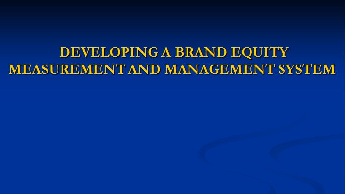 Developing a Brand Equity Measurement and Management System