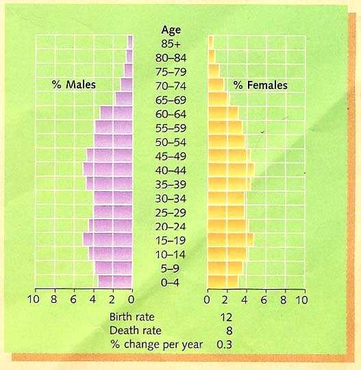 Population Pyramid for the Japan