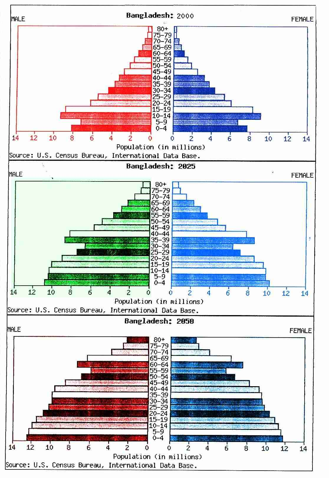 most recent population pyramids for Bangladesh
