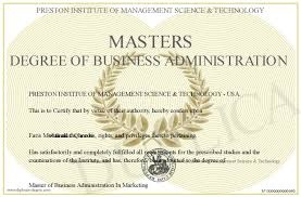 Report on Master's of Business Administration