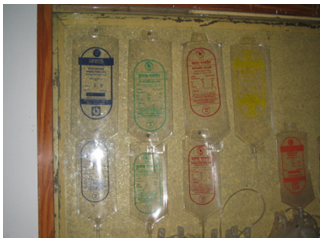 Various types of Saline, transfusion and other bags