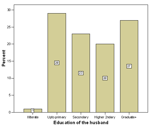 Distribution of the respondents by their husbands' education
