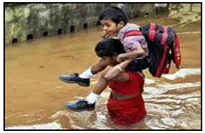 Problem to going school during flood