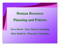 Human Resources Planning and Policy