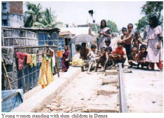 slum children in Demra