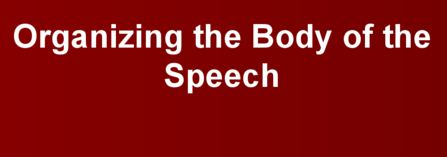 Assignment on Organizing the Body of the Speech