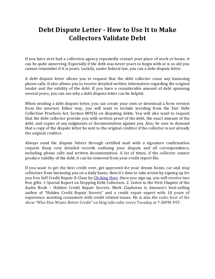 The Significance of a Dispute Letter for Debt Collection