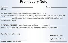 Write a form of Promissory Note