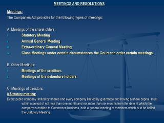 Lecture on Meetings and Resolutions