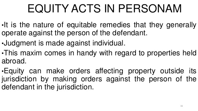 Equity Acts in Personam