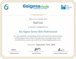 Six Sigma Green Belt Certification