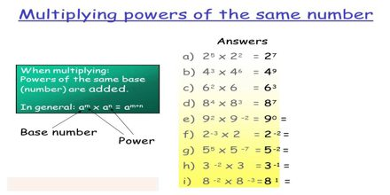 Multiplying and Dividing Powers