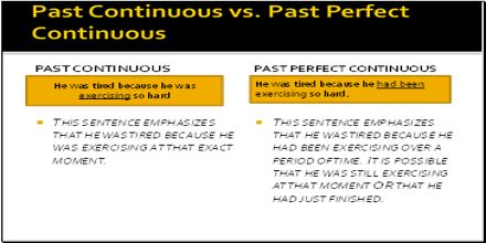 Past Continuous vs. Past Perfect Continuous