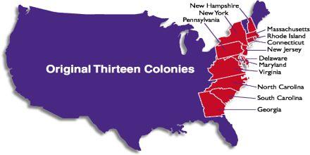 The Thirteen Original English Colonies