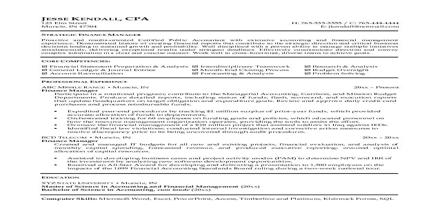 Curriculum Vita Format for Finance Manager Post