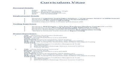 Curriculum Vita Format for Quality Inspector
