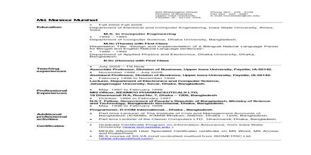 Curriculum Vita Format for Sub Engineer Job
