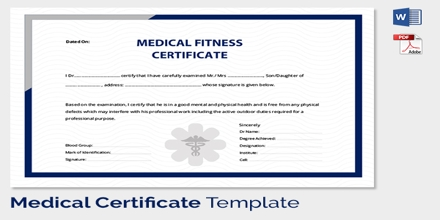 Sample Application For Issuance Of Medical Fitness Certificate For Employee  Medical Certificate Format