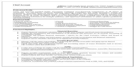 Resume Format for Accounts Job