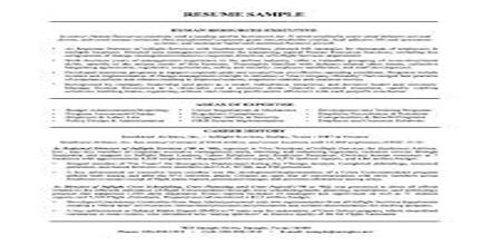Resume Format for Human Resource Planning Officer