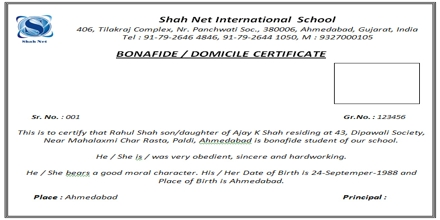 Format of Application for Bonafide Certificate Assignment Point – School Certificate Format