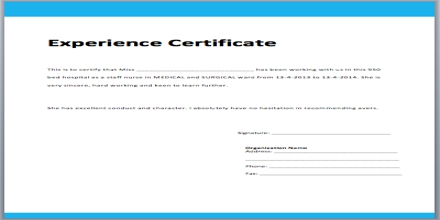 Application Format for Experience Certificate