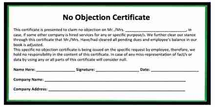 No Objection Certificate for Credit Card