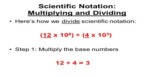 Dividing Scientific Notation Numbers