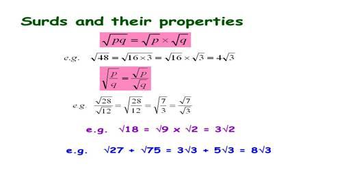 Properties of Surds