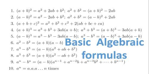 list of important math formulas and results assignment point