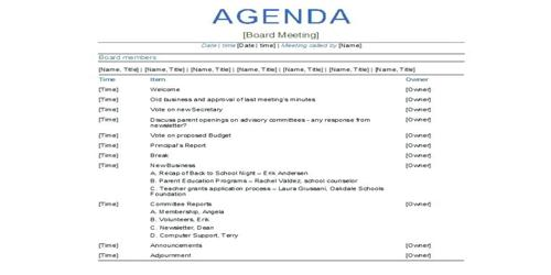 sample professional business meeting agenda format