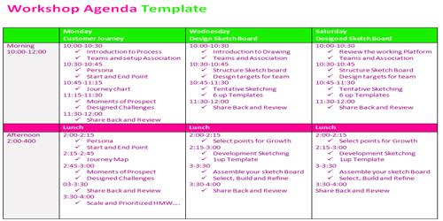 Sample Workshop Agenda Format
