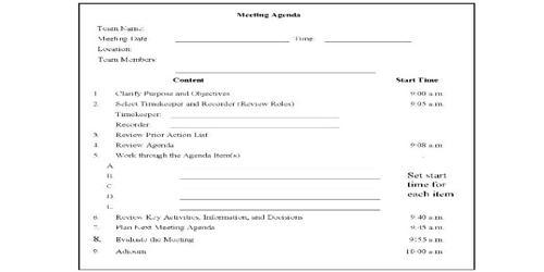 SampleDepartment Meeting Agenda Format