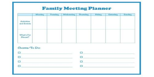 Family Agenda | Sample Family Meeting Agenda Format Assignment Point