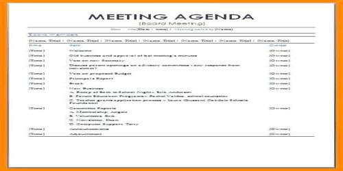 sample formal meeting agenda format