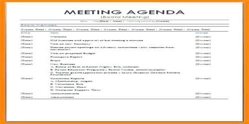 Sample Formal Meeting Agenda Format