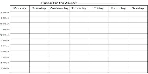 Sample Homework Agenda Format