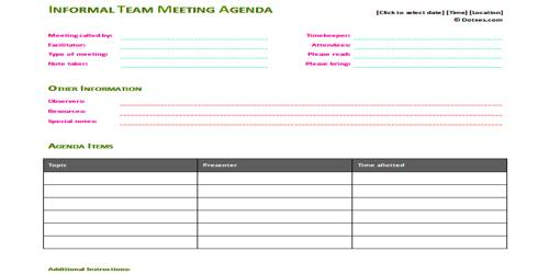 Sample Informal Meeting Agenda Format