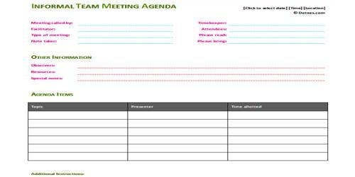 SampleInformal Meeting Agenda Format
