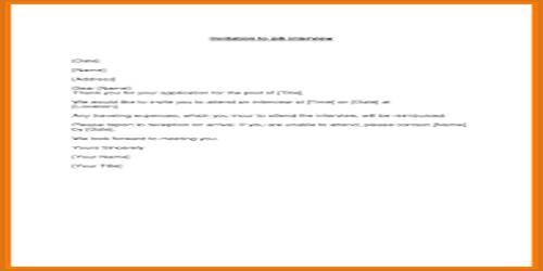 Interview Acceptance Letter
