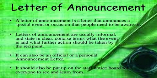 Sample Announcement Letter Format – Formal and Informal Type