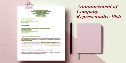 Sample Announcement Letter of Company Representative Visit