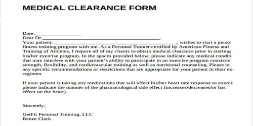 sample clearance letter format from doctor