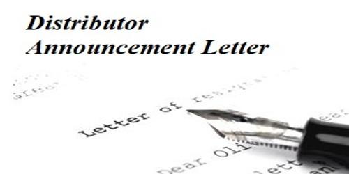 Sample Distributor Announcement Letter Format