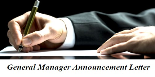 Sample General Manager Announcement Letter Format